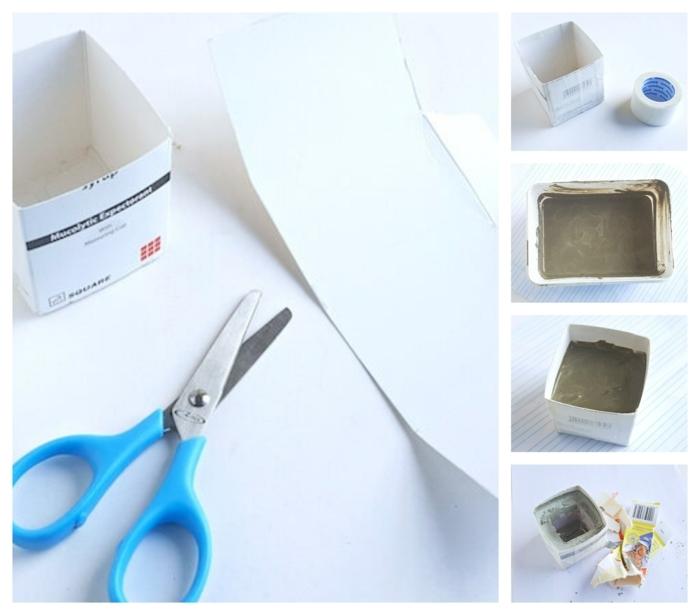 Collage mit DIY Anleitung zum Anfetigen von kleinem Pflanzkübel beton selber machen, Box aus Karton, blaue Schere