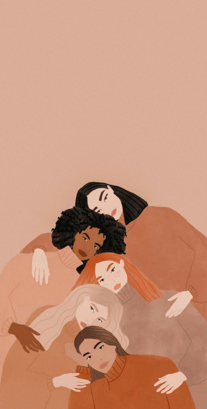 Zeichnung von fünf verschiedenen Fraue in Pullis, Frauen unterstützen Frauen, Hintergrundbilder Handy, Aesthetic Wallpaper Iphone