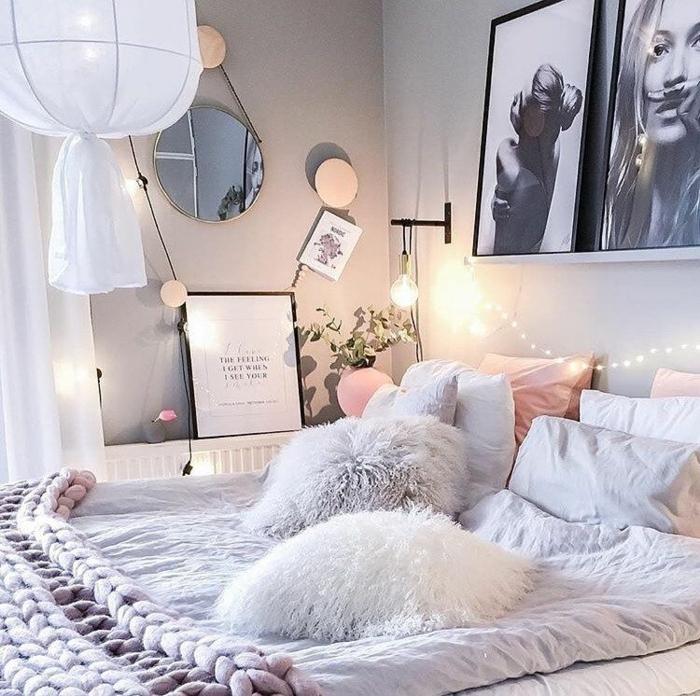 bilder für jugendzimmer, teenager zimmer, mädchenzimmerdeko in weiß, grau und pastallrosa