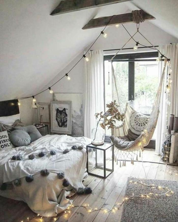 bilder für jugendzimmer, zimmergestaltung in weiß, wießes hängesessel