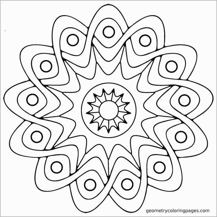 einfache Mandala Muster für Kinder, Bilder zum ausmalen, Figur von Sonne in der Mitte, geometrische Figuren