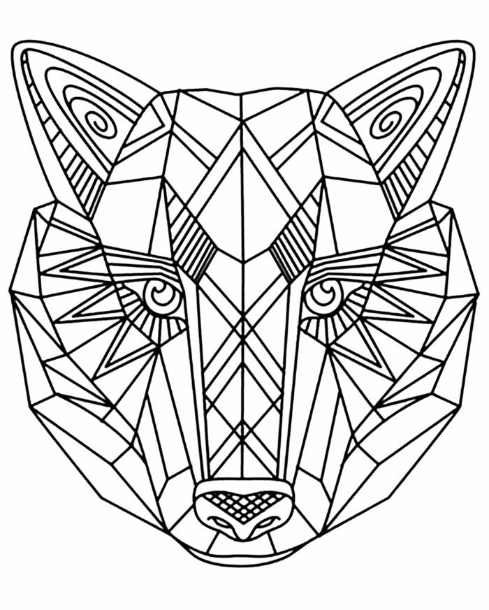 Figur von einem Wolf Tier, kostenlose Malvorlagen, Bild mit geometrischen Figuren zum ausmalen