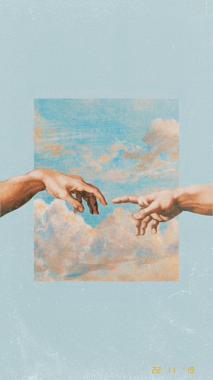 Die Erschaffung von Adam, Freske von Michelangelo, zwei Hände berühren sich fast, Bild am blauen Hintergrund, aesthetic iphone wallpaper,