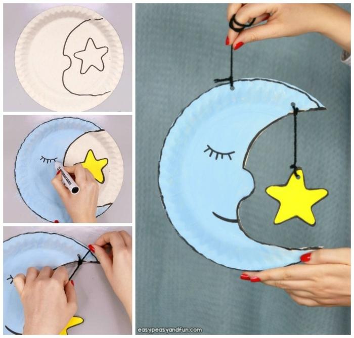 Mond basteln mit Kindern aus Pappteller, DIY Anleitung, Hand zeichnet Mond und Stern auf Teller aus Papper