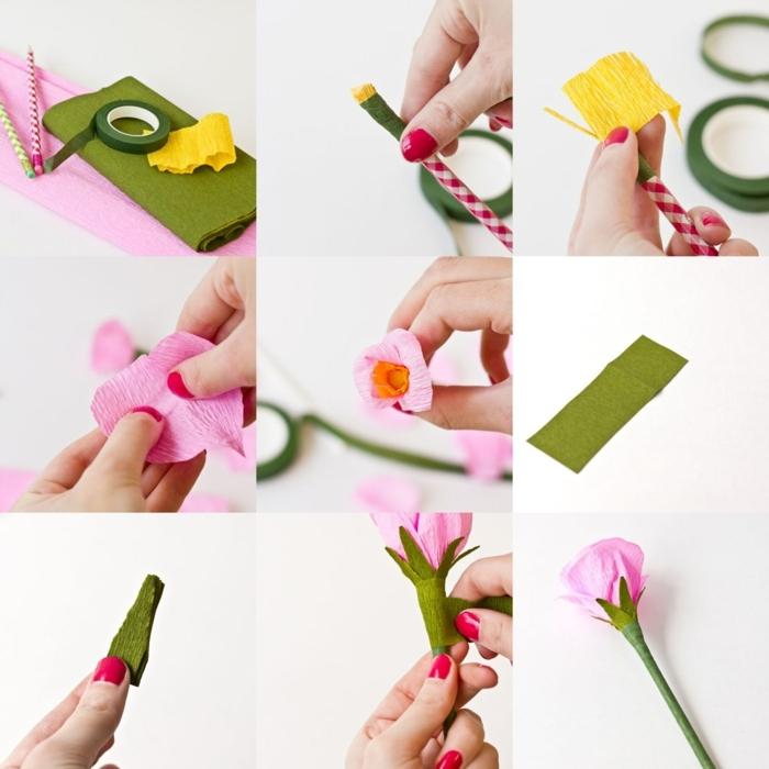 DIY Anleitung zum basteln von Papierblumenstift aus Krepppapier, Pinterest basteln Idee, Papier in grüne pinke und gelbe Farbe