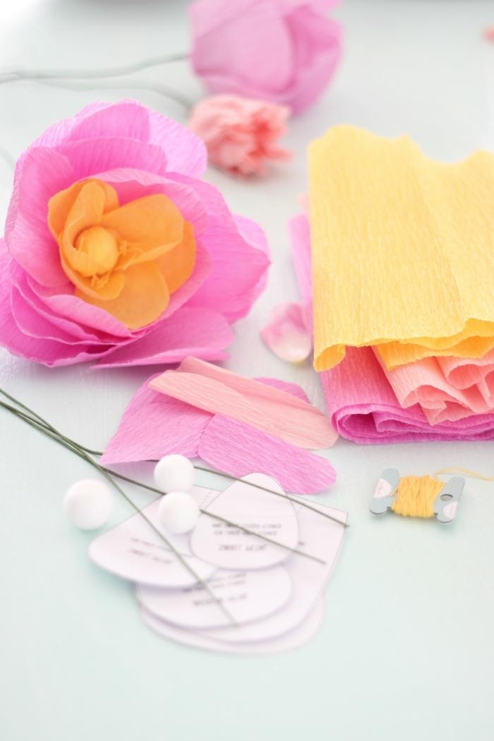blumen aus krepppapier selber machen anleitung, frühlingsblumen aus papier