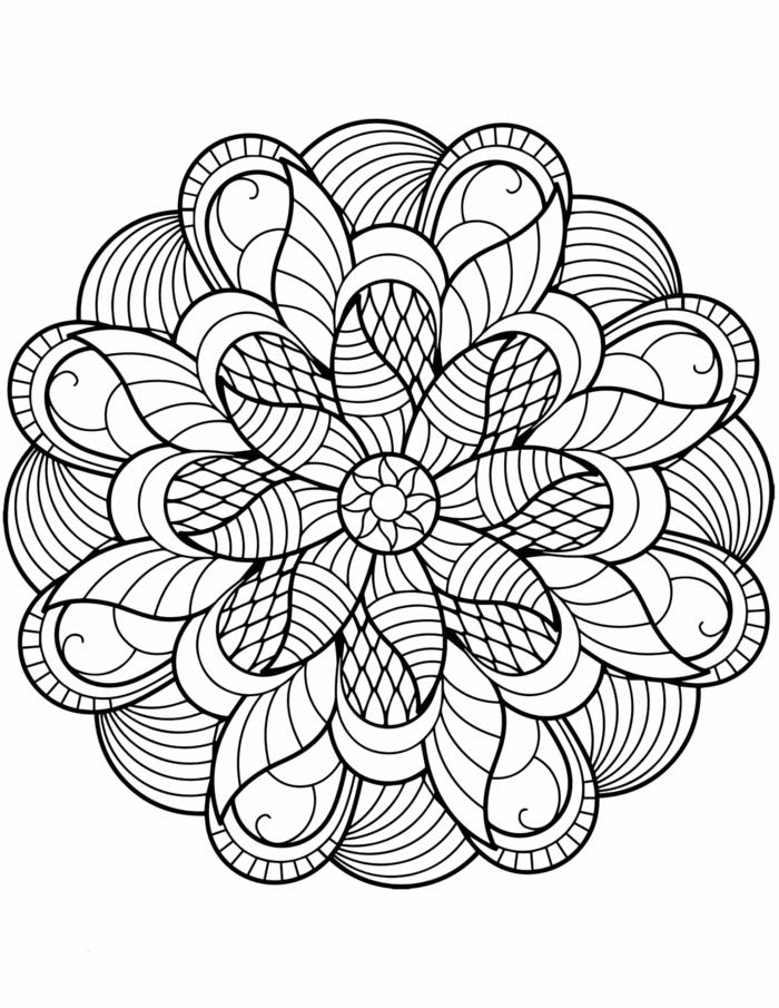 Kostenlose Malvorlagen von Mandalas für Erwachsene und Kinder, geometrisches Bild mit Motiven von Blumen