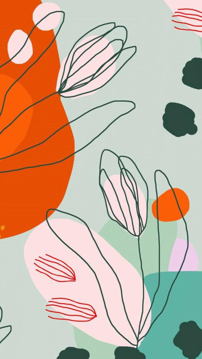 Zeichnung von zwei Blumen, Pastellfarben im Hintergrund, orange und dunkelgrün, aesthetic iphone wallpaper