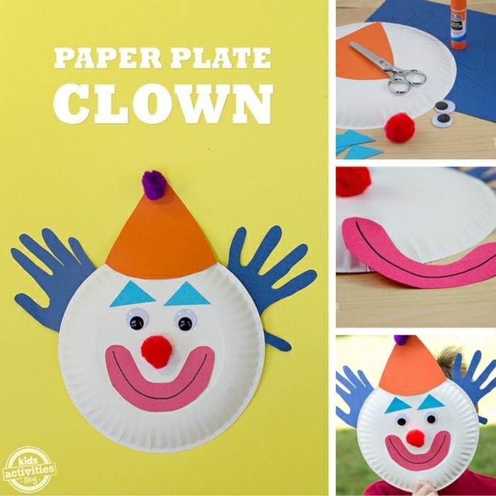 Clown Masken basteln aus Pappteller für Kinder, DIY Anleitung, Ohren aus Handabdrücke