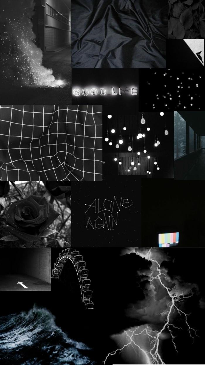 aesthetic wallpaper black, collage von verschiedenen Bilder in schwarz, Hintergrund Bilder Handy