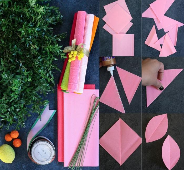 Bastelbedarf und DIY Anleitung zur Anfertigung von Blumenkranz aus Papier, Wanddeko Ideen selbermachen