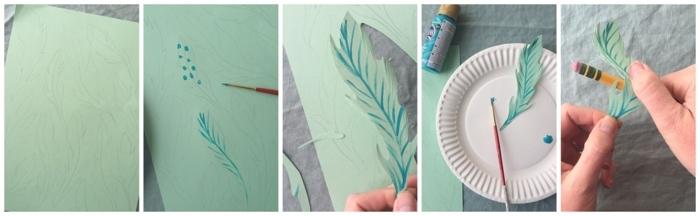 Schritt für Schritt DIY Anleitung zum Anfertigen von Blättern aus Papier, blaue Farbe, günstige deko ideen
