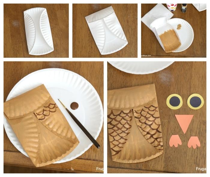 DIY Schritt für Schritt Anleitung für Eule basteln mit Pappteller, weißer Teller aus Pappe bemalt in braun