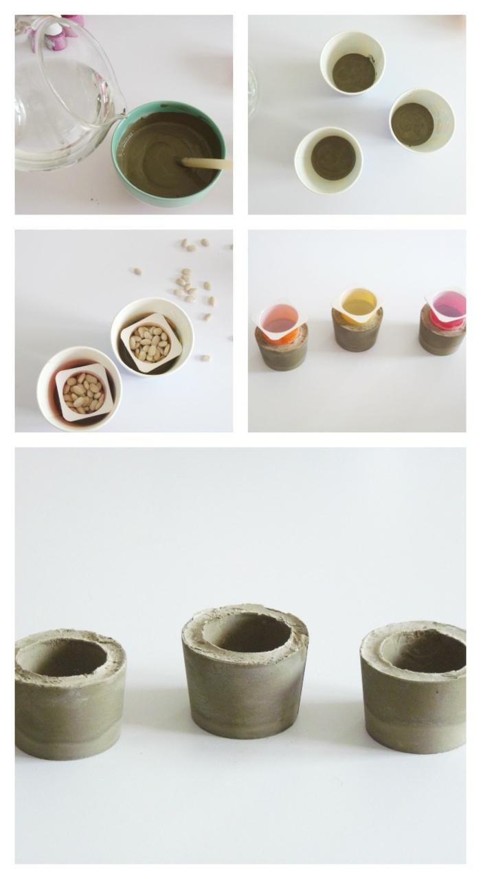 DIY Erklärung zum basteln von kleinem Blumenkübel, schöne Übertöpfe für Innen, Gefäße gefüllt mit Beton