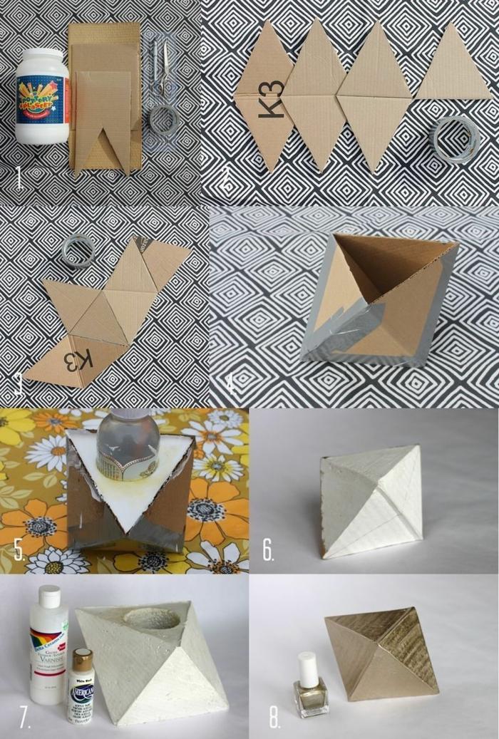 Anleitung zum basteln von geometrische Figur, Betonarbeiten selber machen aus Karton, goldener Nagellack