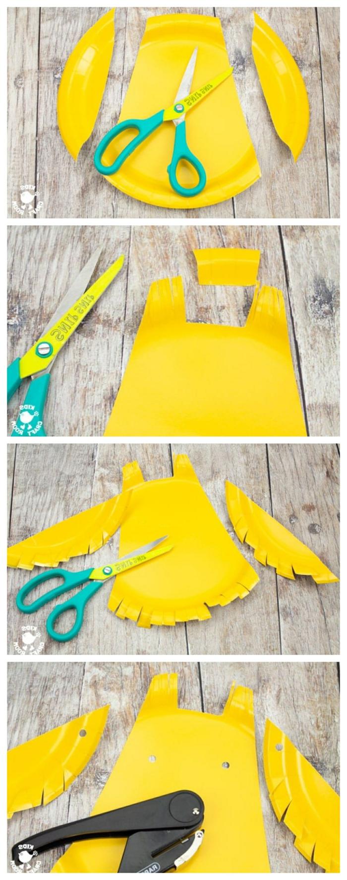 Schritt für Schritt Anleitung zum Eule basteln mit Pappteller, grüne Schere und schwarzer Locher