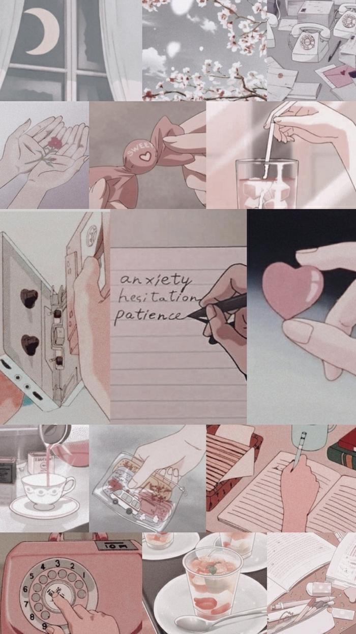 Aesthetic Anime Wallpaper, Collage von verschiedenen Bildern, japanische Kunst, Handy Bilder