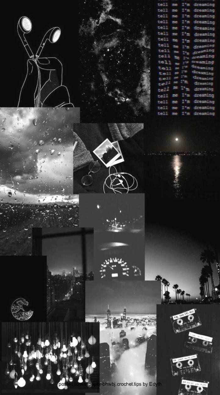 Collage von vielen Bildern in schwarz, aesthetic wallpaper black, ästhetische Bilder für Handys