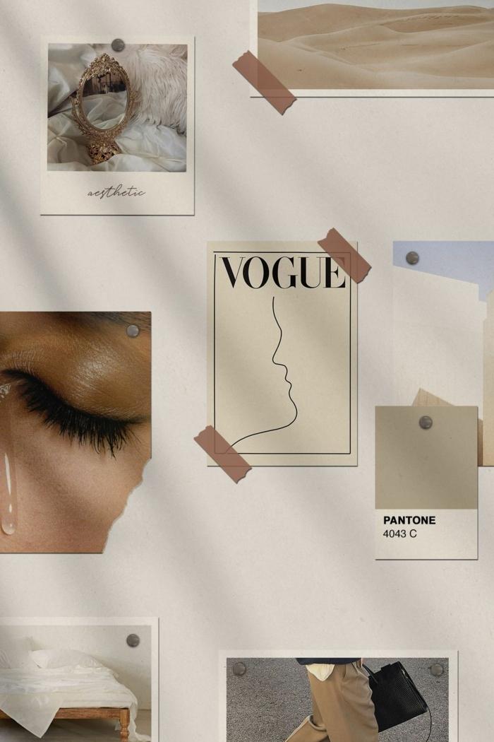 Moodboard mode Ideen, Bild von einem geschlossenen Augen, Vogue Magazin, beige Farben, Tumblr Aesthetic backgrounds