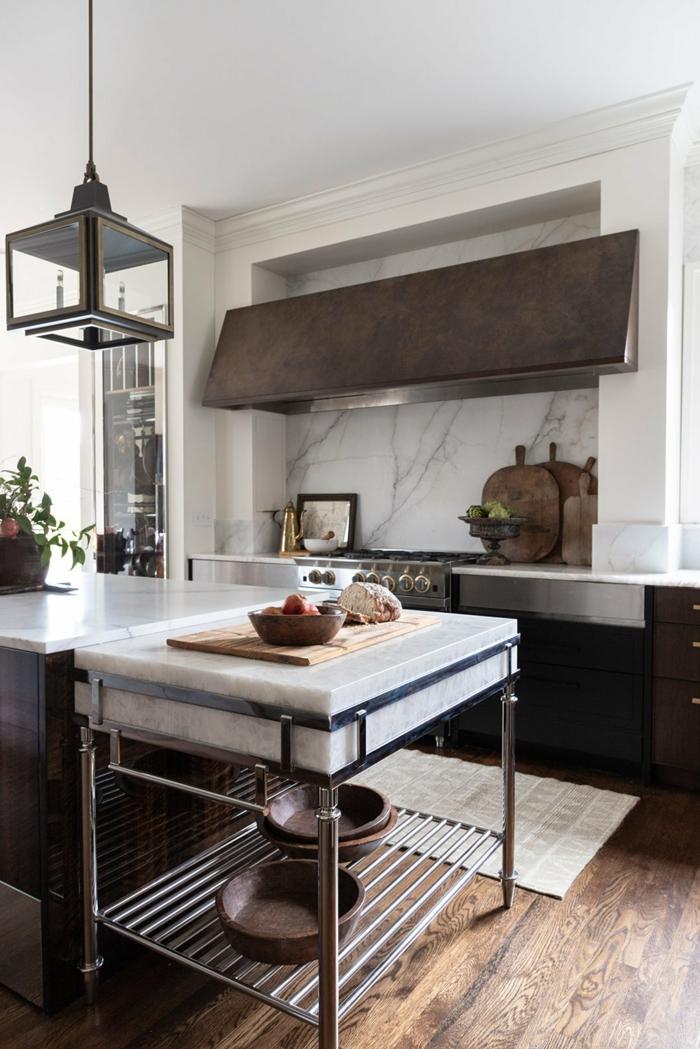 Moderne und minimalistische Einrichtung, Küchen Innenausstattung, neutrale Farbkombination aus grau weiß und schwarz