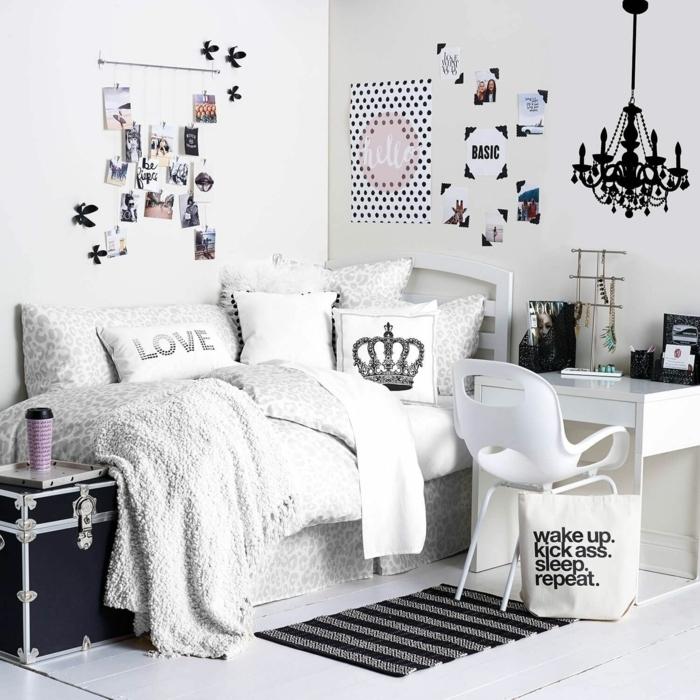 coole betten für teenager mädchen, mädchenzimmer in weiß und grau, fotowand selber machen