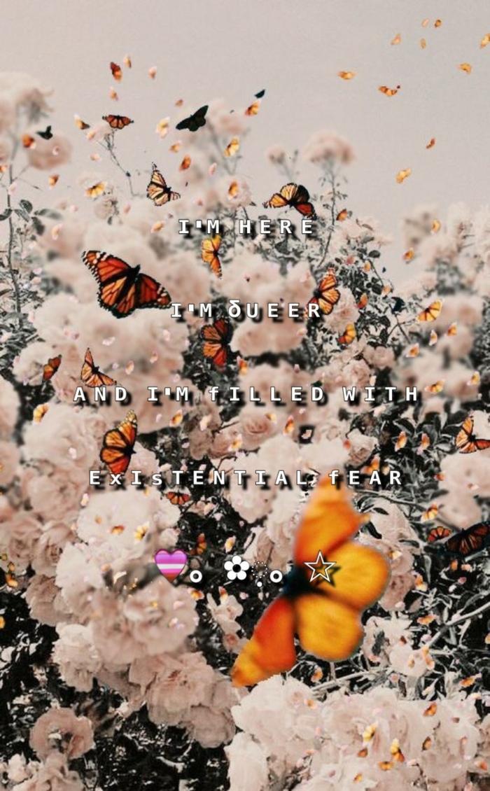Foto von weißen Blumen mit vielen Schmetterlingen mit Spruch, Aesthetic Wallpaper Iphone