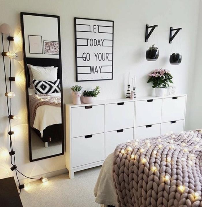 deko ideen jugendzimmer selber machen, wanddeko bilder, weißer schrank, großes bild
