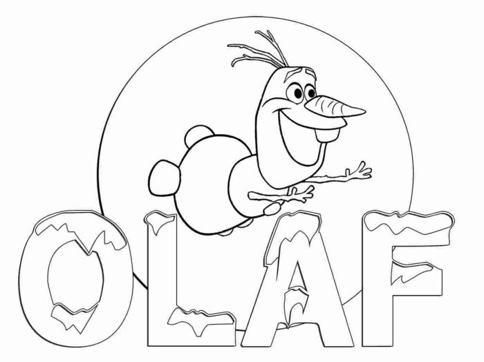 Schneemann mit Karotte als Nase, Olaf aus dem Film Die Eiskönigin, Ausmalbilder Disney,