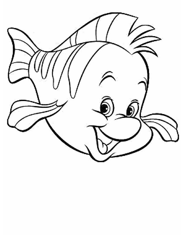 Fabius aus dem Disney Film Arielle die kleine Meerjungfrau, kleiner Fisch, Ausmalbilder für Kinder