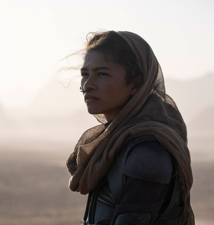 eine junge frau in wüste, die schauspielerin zendaya in der rolle von der figur chani in dem neuen film dune von denis viellenevue