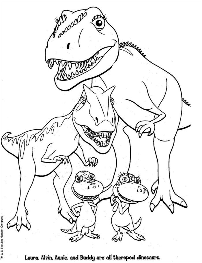 Bilder zum Ausmalen, kleine Familie aus vier Dinosaurier, Mutter und Vater, kostenlose Malvorlagen,