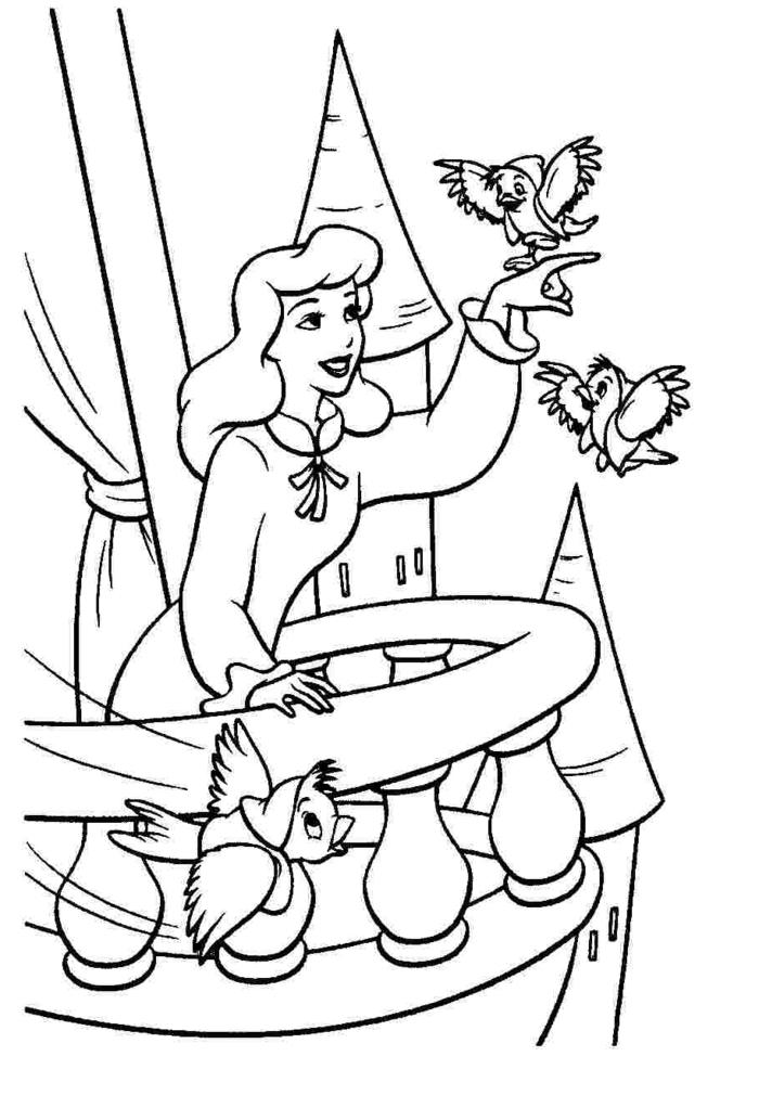 Aschenputtel steht auf einem Balkon und spielt mit den Vogeln, Ausmalbilder für Mädchen