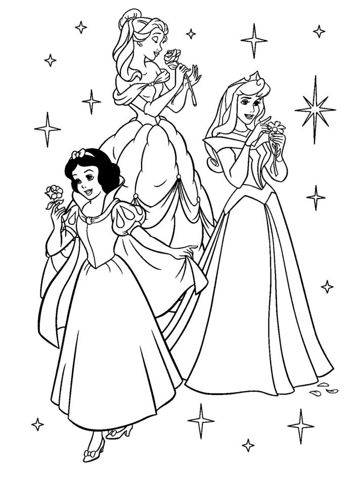 Drei Disney Prinzessinen, Schneewittchen Belle und Dornröschen halten Blumen, ausmalbilder Disney