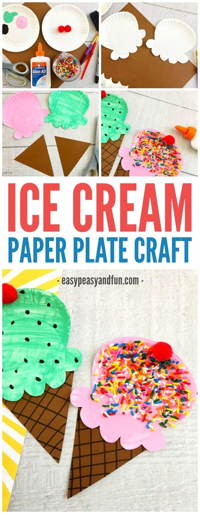 DIY Schritt für Schritt Anleitung zum basteln von Eis aus Papptellern, Muttertag basteln Kinder Pinterest