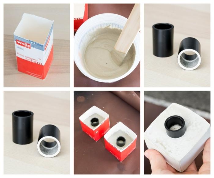 Bilder mit DIY Anleitungen zum basteln von Kerzenhalter, Gefäße aus Beton selber machen, alter Milchkarton gefüllt mit Beton