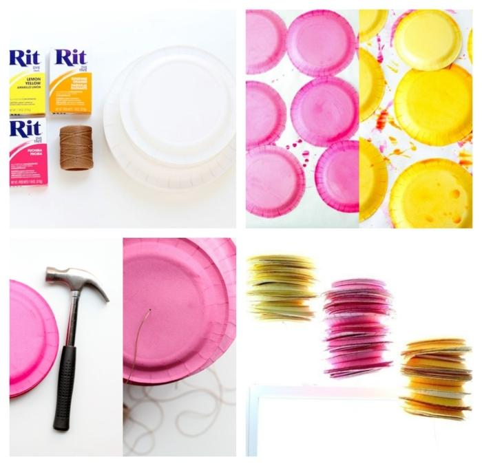 bunte Laternen aus Papptellern basteln, gefärbte weiße in pink und gelbe weiße Teller aus Papper, DIY Anleitung