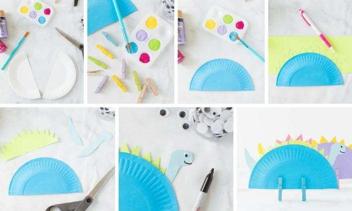 DIY Anleitung zum basteln von Dinosaurier aus weißem Pappteller bemalt in blau, Muttertag basteln Kinder Pinterest