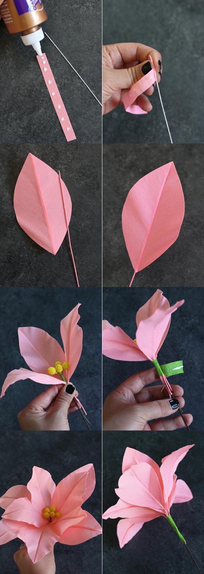 Schritt für Schritt Anleitung zum basteln von pinke Blume aus Papier, Kranz selber machen, pinterest basteln