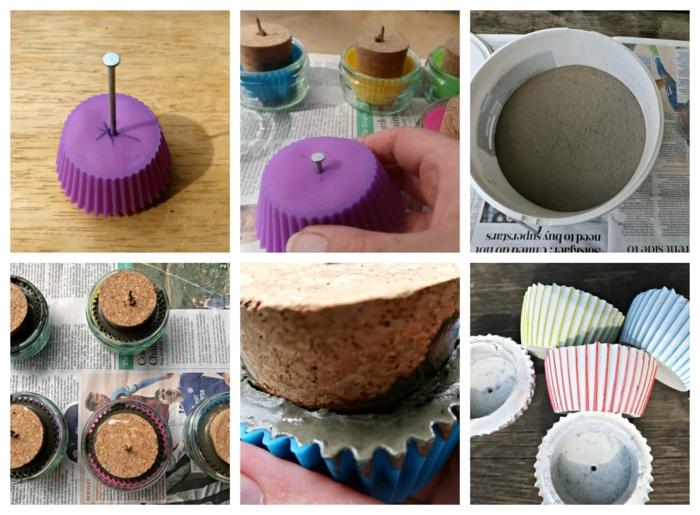 kleine Betonkübel für Pflanzen aus Cupcake Förmchen machen, Schritt für Schritt Anleitung