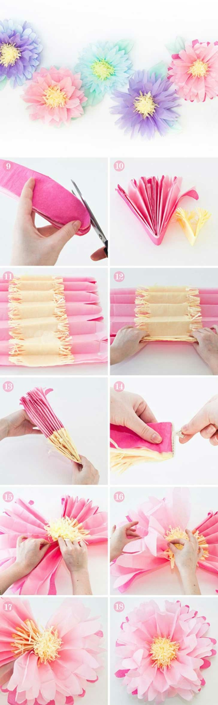 DIY Anleitung zum basteln von bunten Blumen aus Papier, Pinterest basteln, Hand schneidet und formt Papier