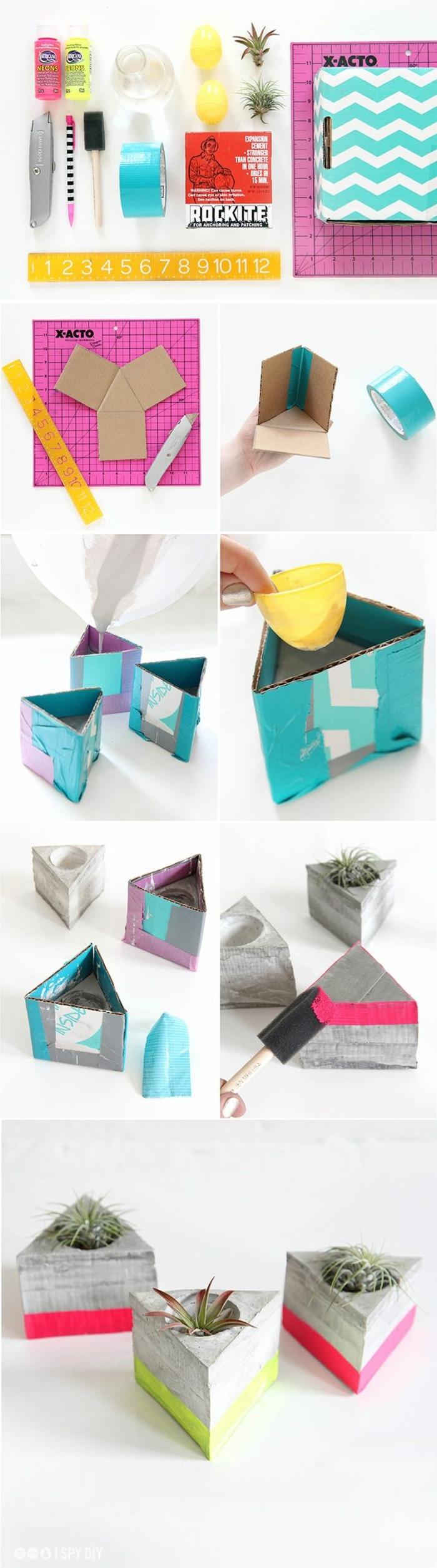 Bastelbedarf und Anleitungen zum machen von kleinem Pflanzenbehälter, Blumenkübel selber bauen Beton