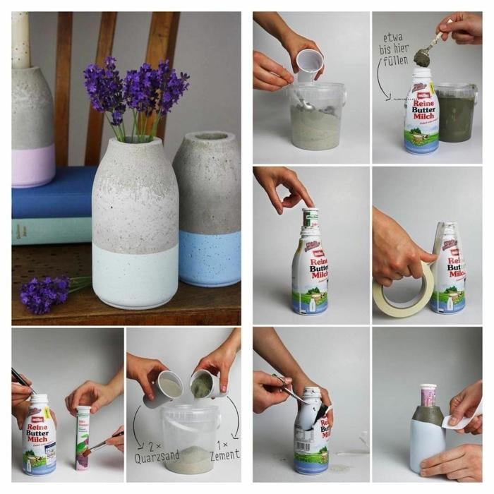schlichte Vase mit lila Blumen aus Beton selber machen, Blumenübertöpfe für drinnen