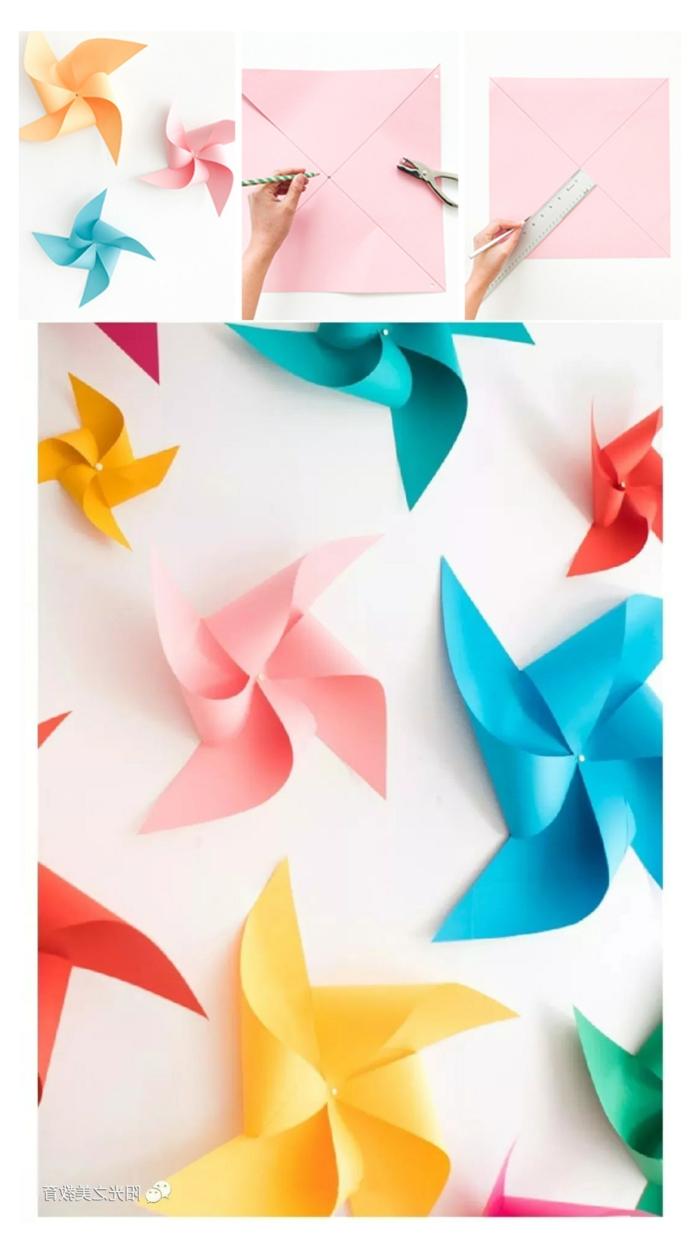 viele und bunte Windräder DIY Anleitung, Wanddeko Ideen selber machen, Hand schneidet Blatt Papier