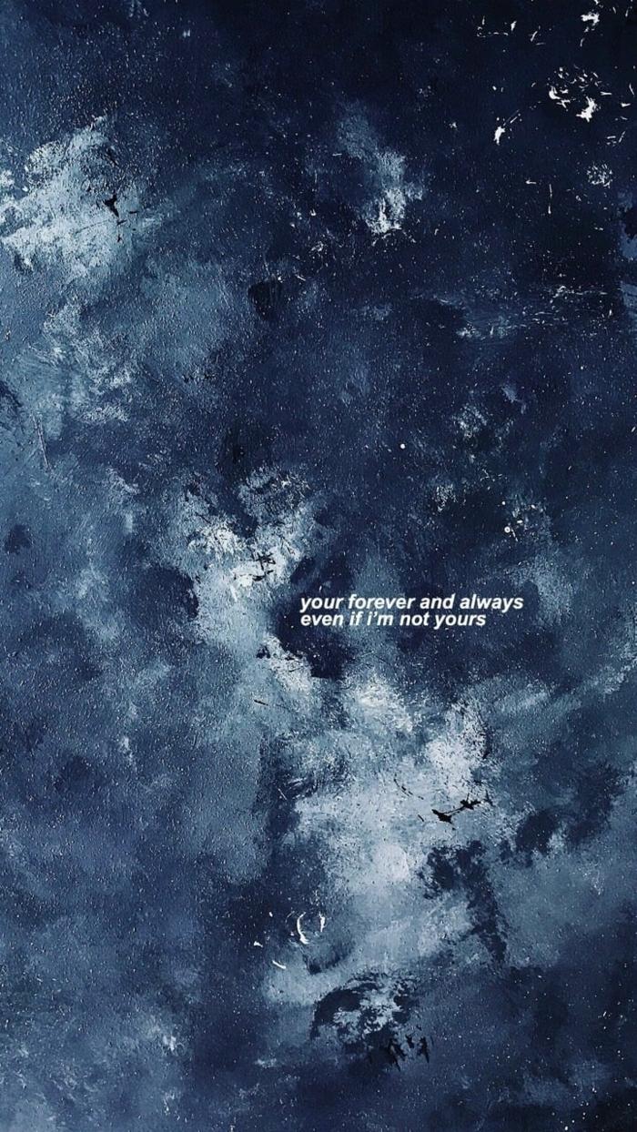 Himmel in dunklen und hellen Töne von Blau, Hintergrundbild für Handy mit Spruch, aesthetic wallpaper hd