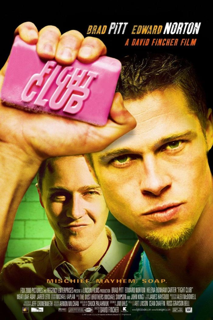 die schauspieler edward norton und brad pitt, der poster zu dem film fight club von david fincher