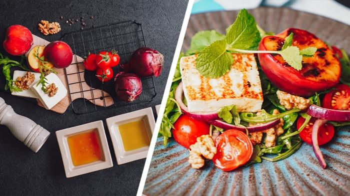 einfache salate rezepte gesunde sommerrezepte einfacher sommersalat mit gegrillten pfirsichen und käse