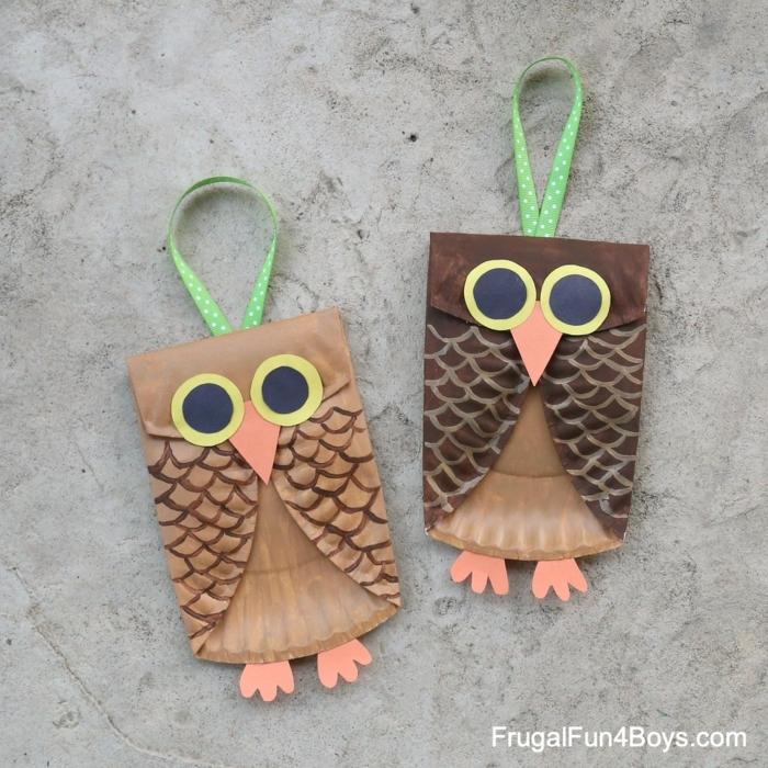 Eule basteln mit Pappteller in braun und hellbraun, DIY Anleitung, Bastelideen für Muttertag