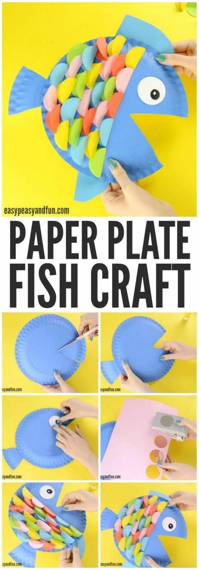Fische basteln mit Kindern, DIY Anleitung, Hand bastelt blauen Fisch aus Pappteller