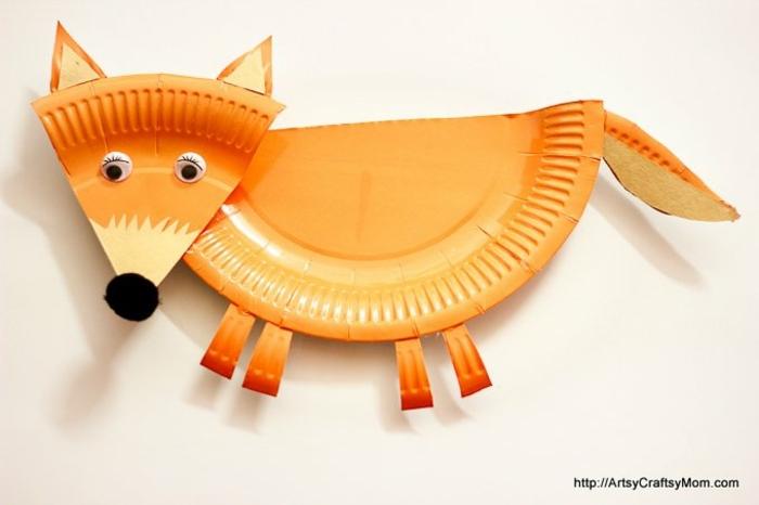 Fuchs basteln mit Kinder mit Papptellern, oranger Teller aus Pappe, Bastelideen für Kinder