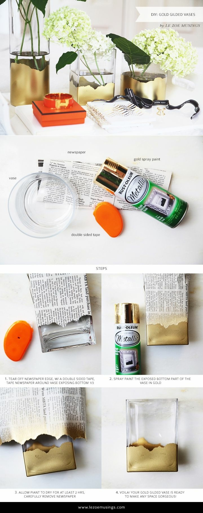 DIY Anleitung mit Schritt für Schritt Erklärung, vergoldete Glasvase Dekoration, weiße Blumen, günstige deko Ideen
